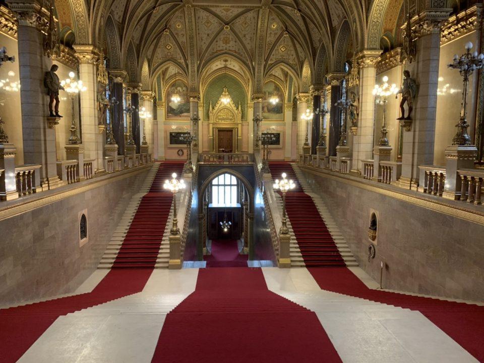 Ornamental staircase Hungarian parliament